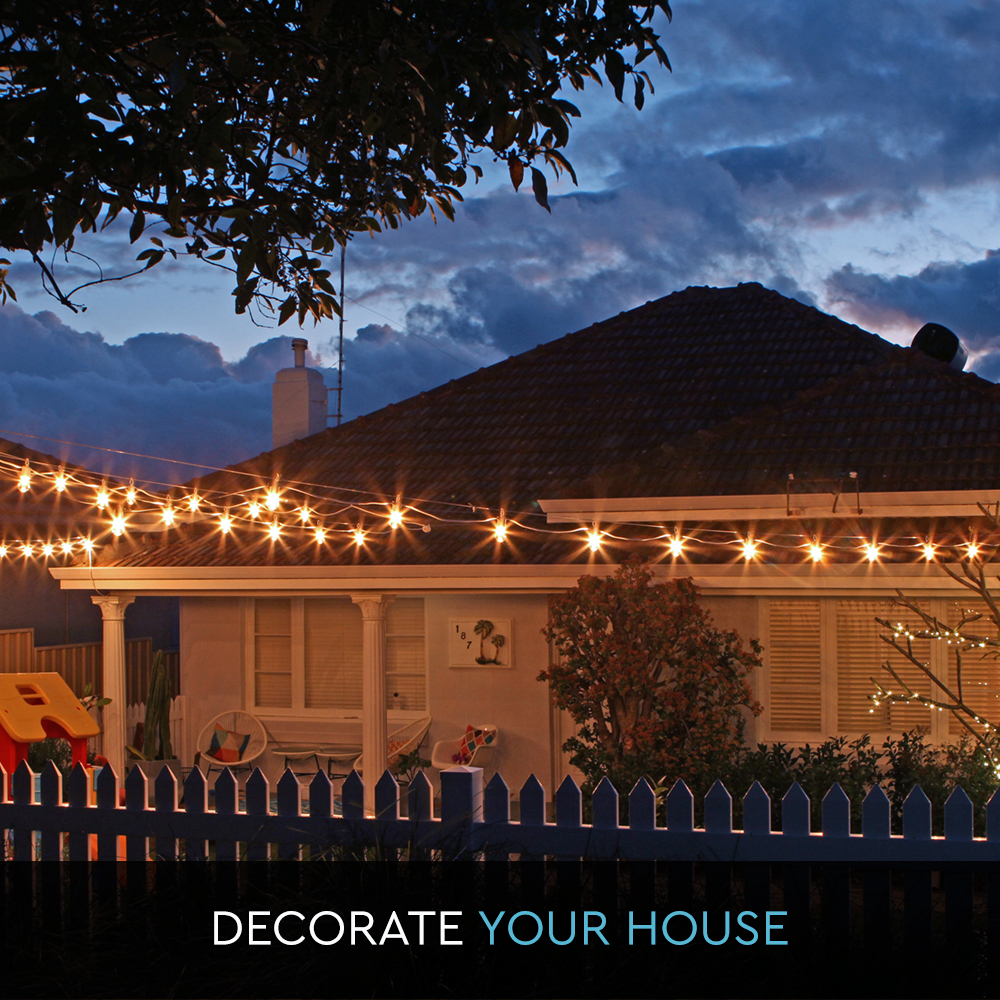 20m String Lights Festoon Party Outdoor Marquee Vintage 25W Pearl GLB White eBay