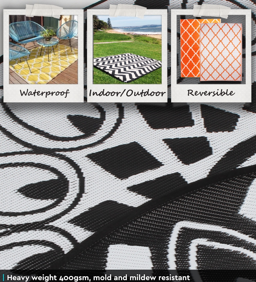 Outdoor Plastic Rug Mat Recycled Polypropylene Patio 200cm