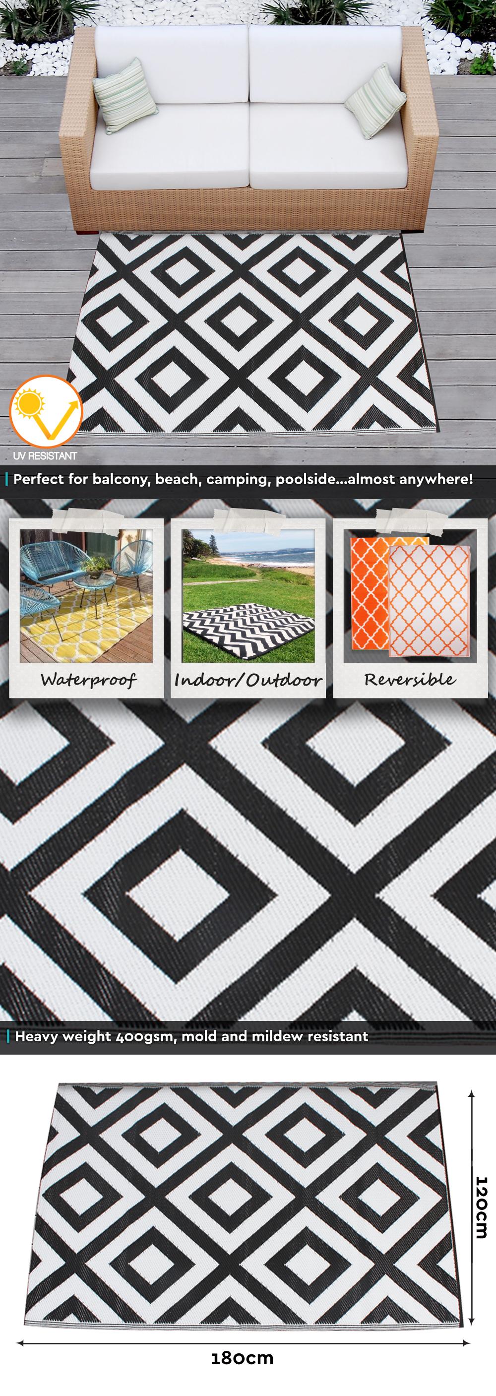 outdoor plastic rug mat recycled polypropylene patio picnic 180x120cm black geo ebay. Black Bedroom Furniture Sets. Home Design Ideas