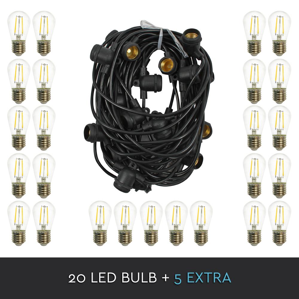 20m String 20 Socket Lights Festoon Outdoor Marquee
