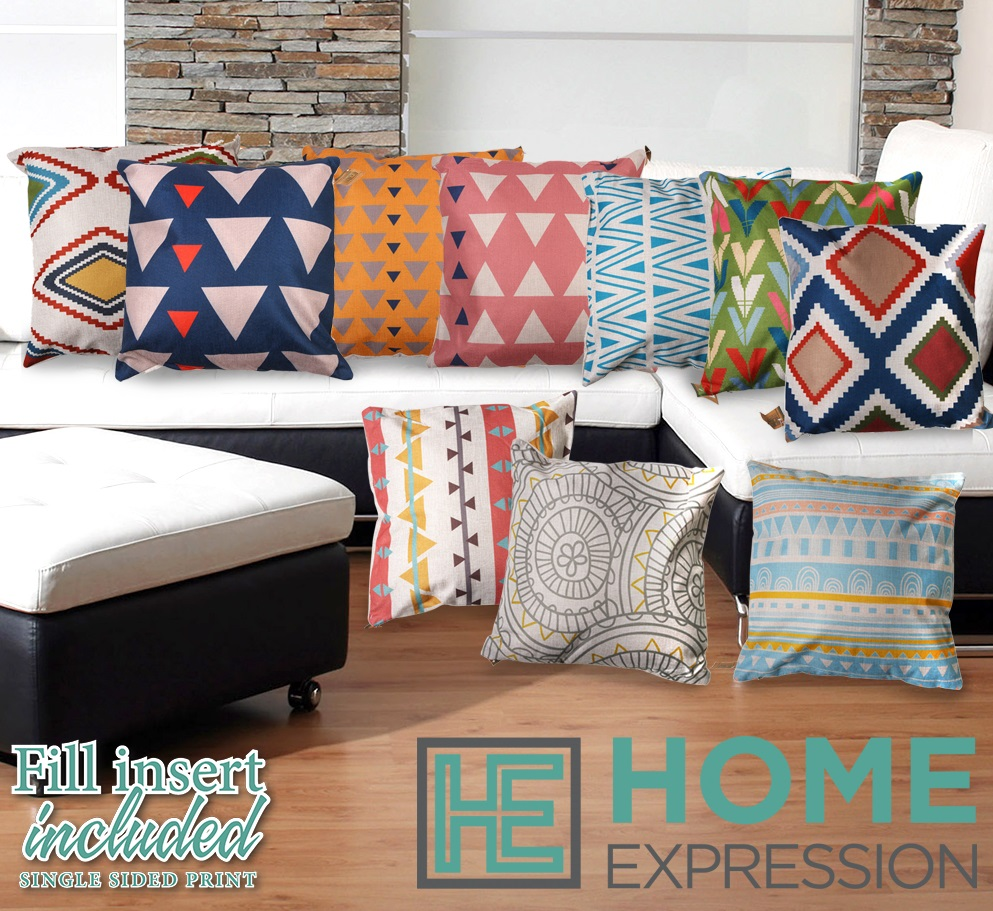 Colourful Boho Geometric Living Room Sofa Linen Cushion