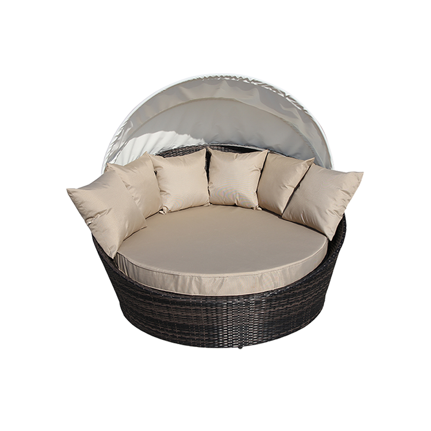 cabana round wicker outdoor furniture rattan sofa lounge w canopy cover black ebay. Black Bedroom Furniture Sets. Home Design Ideas