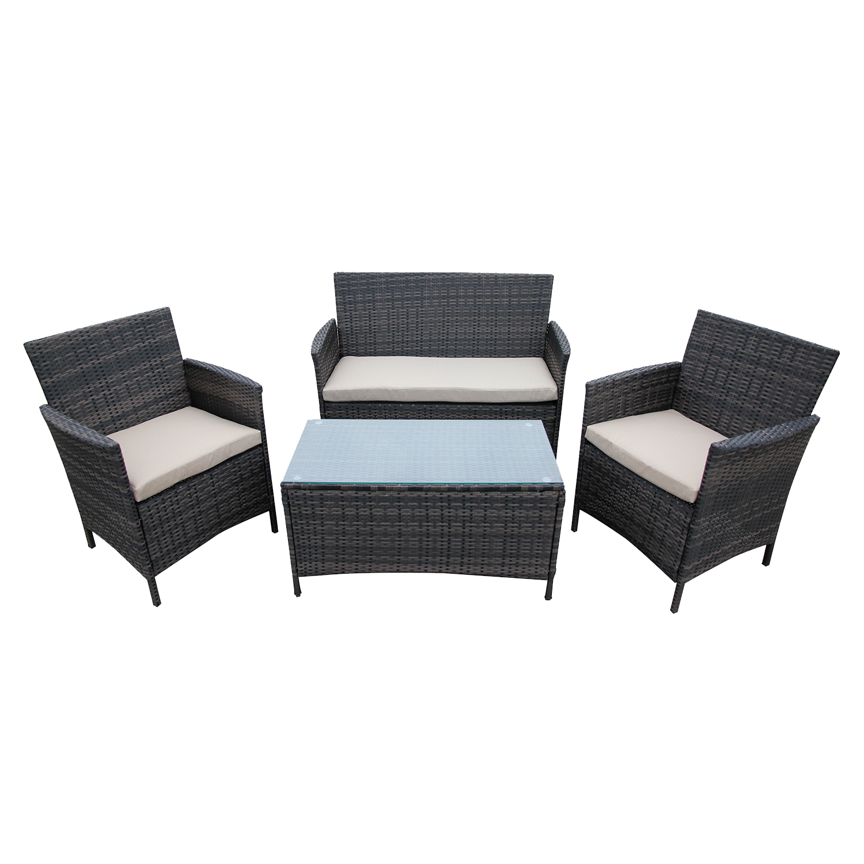 New Balian Wicker Rattan Sofa Lounge Outdoor 4pc Set Brown