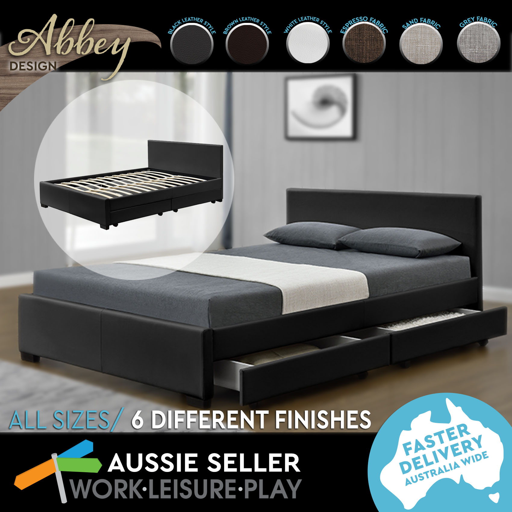 Abbey King & Queen Size Bed Frame in 6 Fabrics Colours