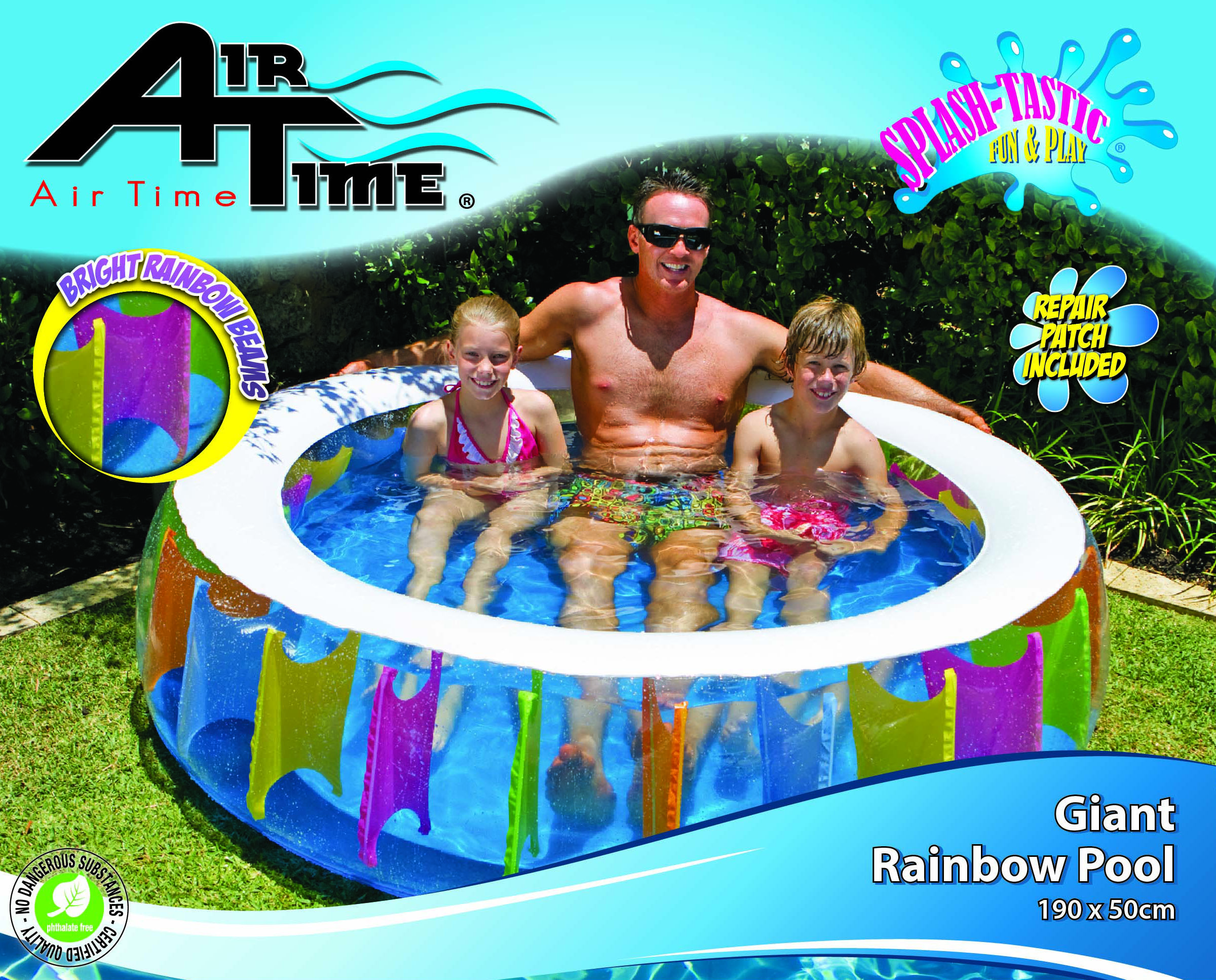 New inflatable kids swimming pool rainbow ring round deep kids pool 190 x 50 cm aud for Kids inflatable swimming pools
