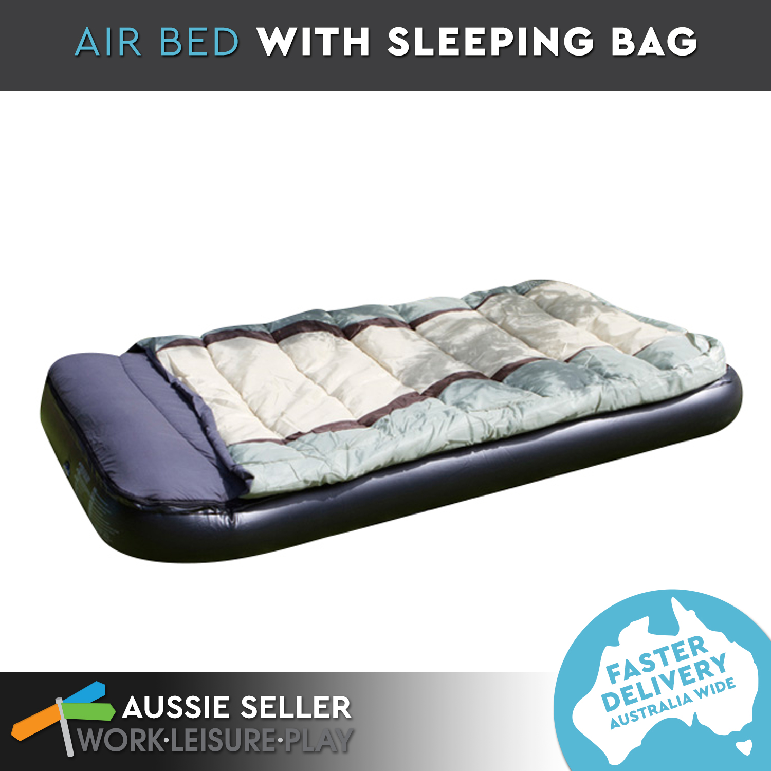 Air Sleeping Bag : Airtime inflatable sleeping bag zipped with air bed