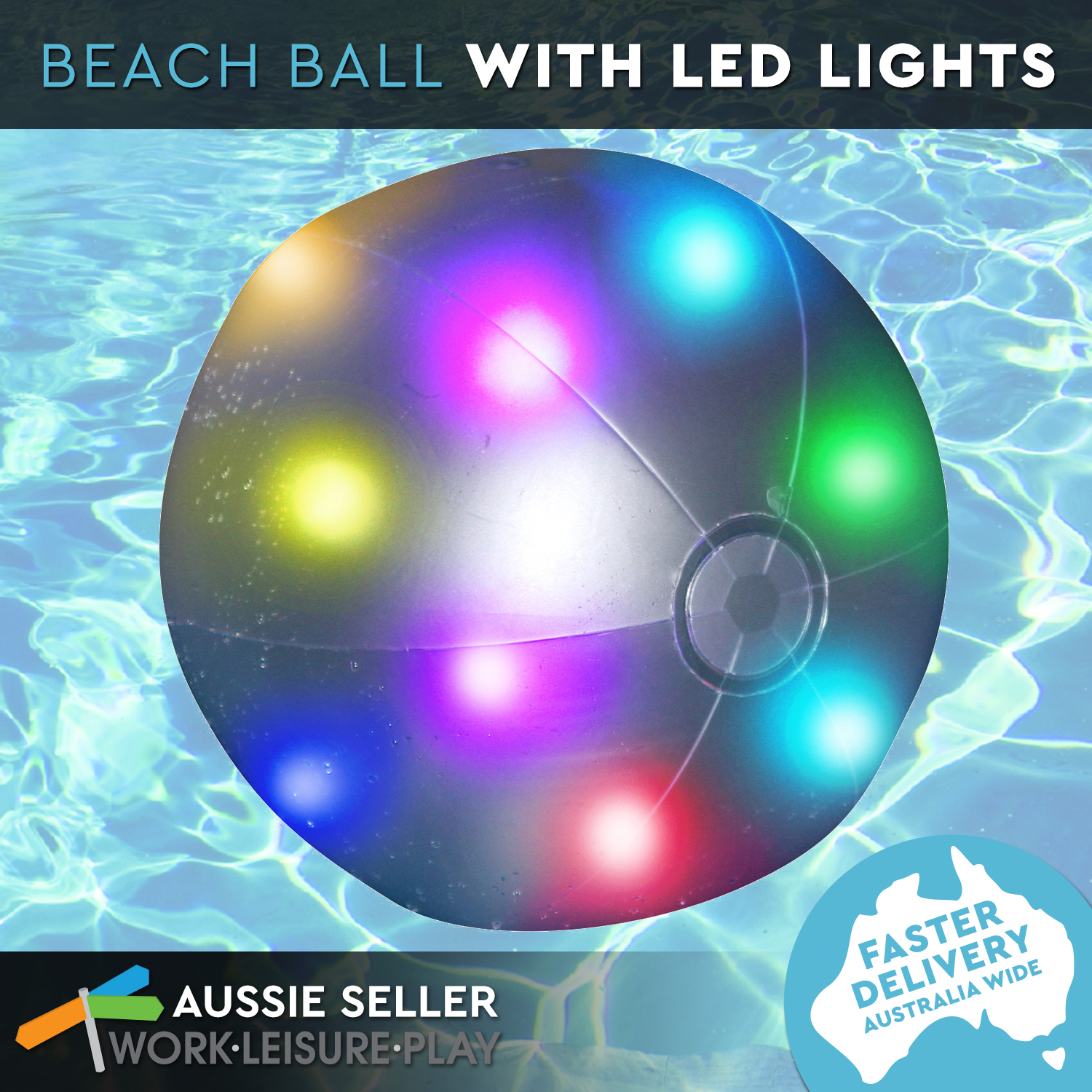 Led Light Up Beach Ball Inflatable Pool Water Toy By Airtime