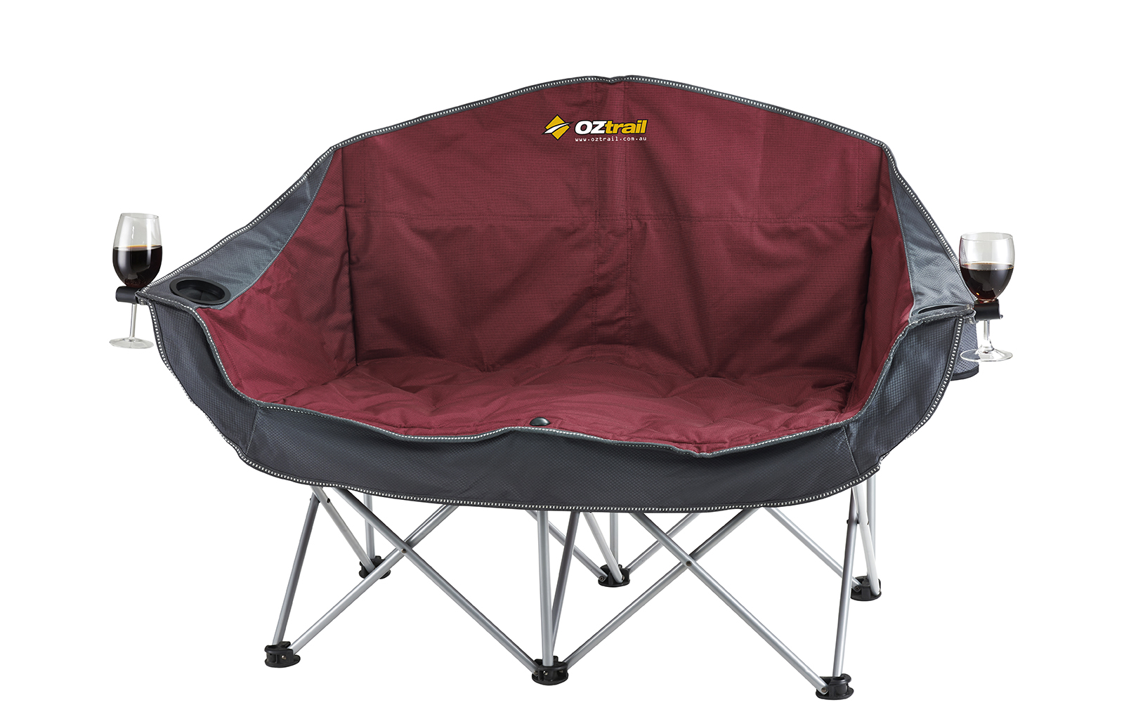 Oztrail Double Galaxy Sofa 2 Seat Lounge Arms Folding Camping Outdoors Maroon Ebay