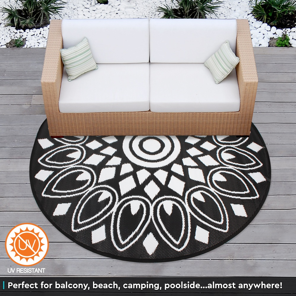 Outdoor plastic rug mat recycled polypropylene patio 200cm for Woven vinyl outdoor rugs