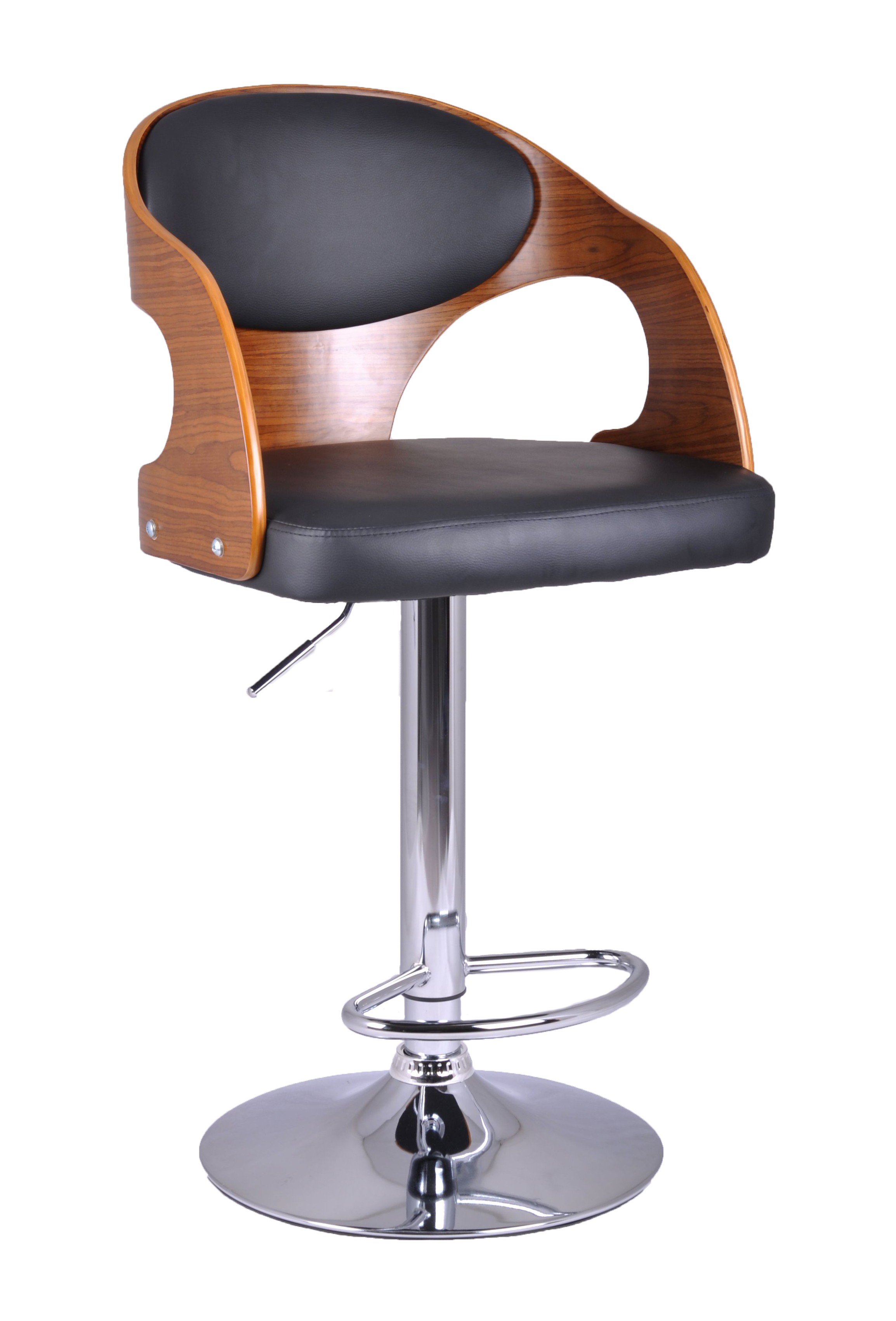 Wooden bar stool kitchen chair dining pu leather luxury for Luxury leather bar stools