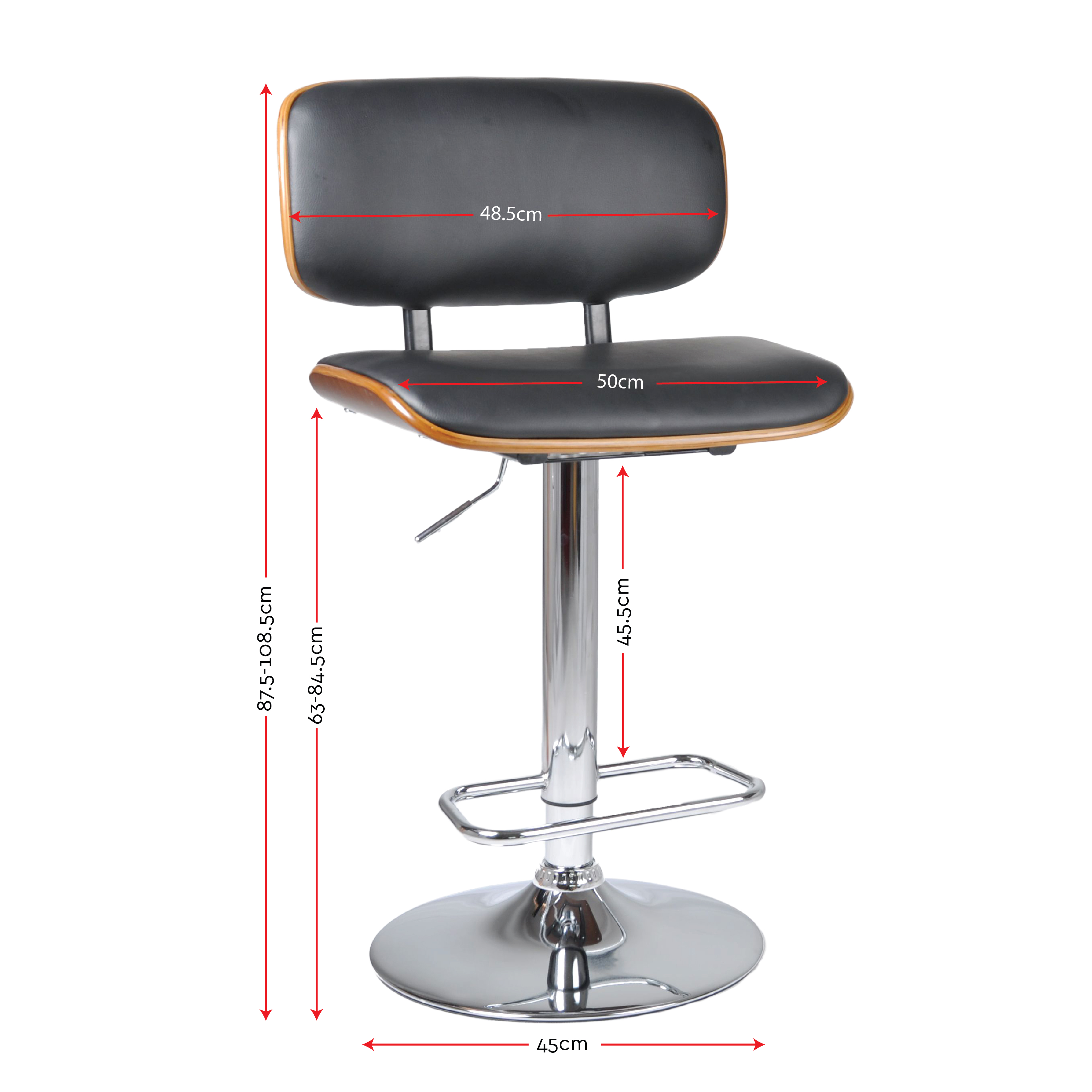 Wooden Bar Stool Kitchen Chair Dining PU Leather Luxury