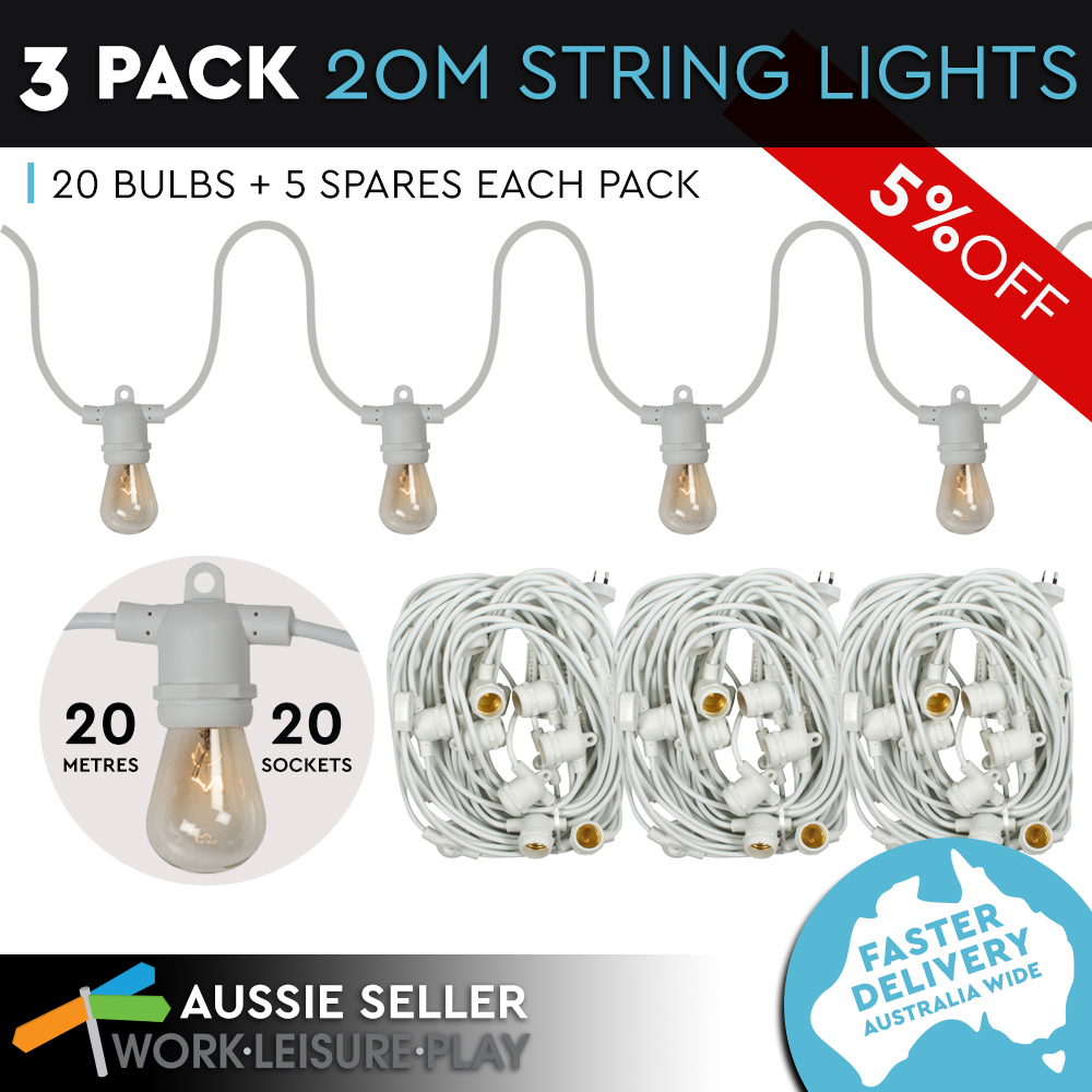 String Lights For Marquee : 3x20m String Lights Festoon Wedding Fairy Outdoor Marquee Retro Vintage White eBay