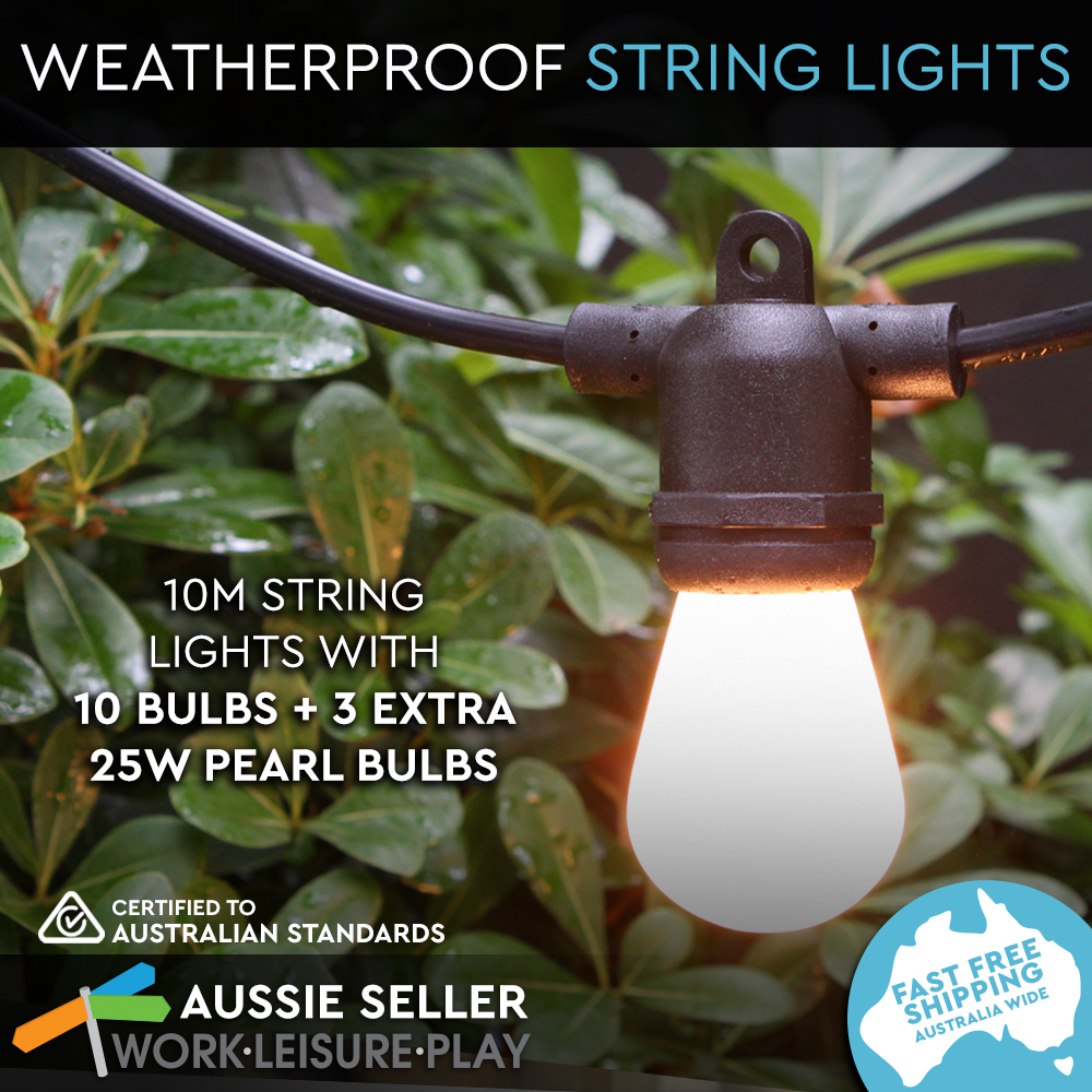 String Lights For Marquee : 10m String 10 Sockets Lights Festoon Outdoor Marquee Vintage 25W Pearl GLB Black eBay