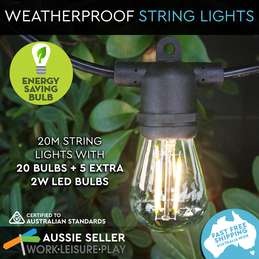 String Lights For Marquee : 20m String 20 Socket Lights Festoon Outdoor Marquee Vintage 2W Filament Black eBay