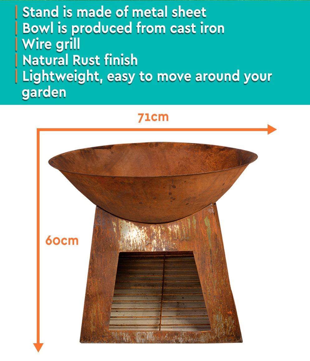 Rustic 60CM Firebowl Fire Pit w/ Wood Storage Base Outdoor ...