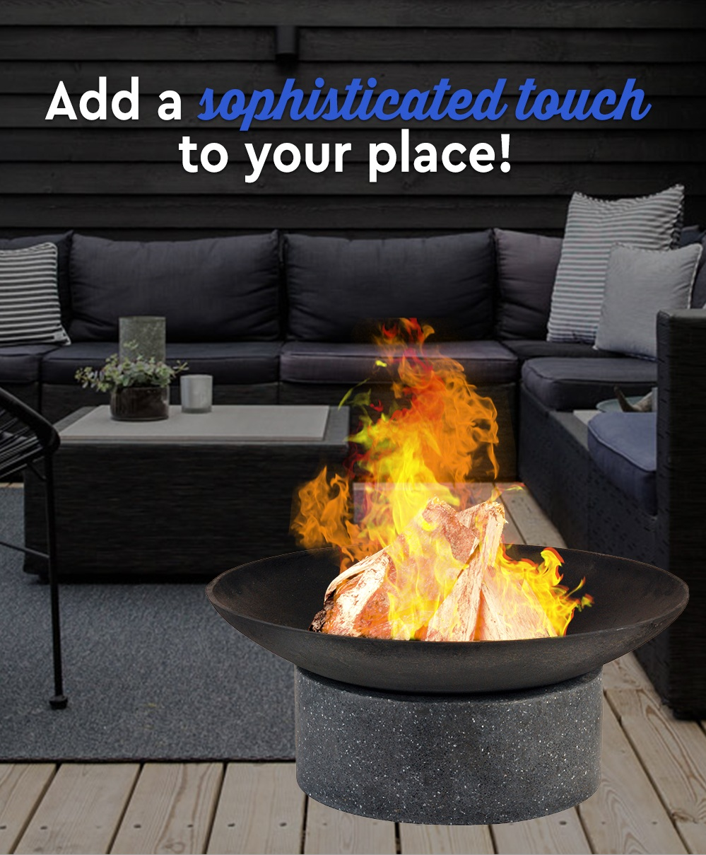 Fire-Pit-Stone-Base-w-Round-Cast-Iron-Bowl-Open-Outdoor-Fireplace-Firepit-BBQ