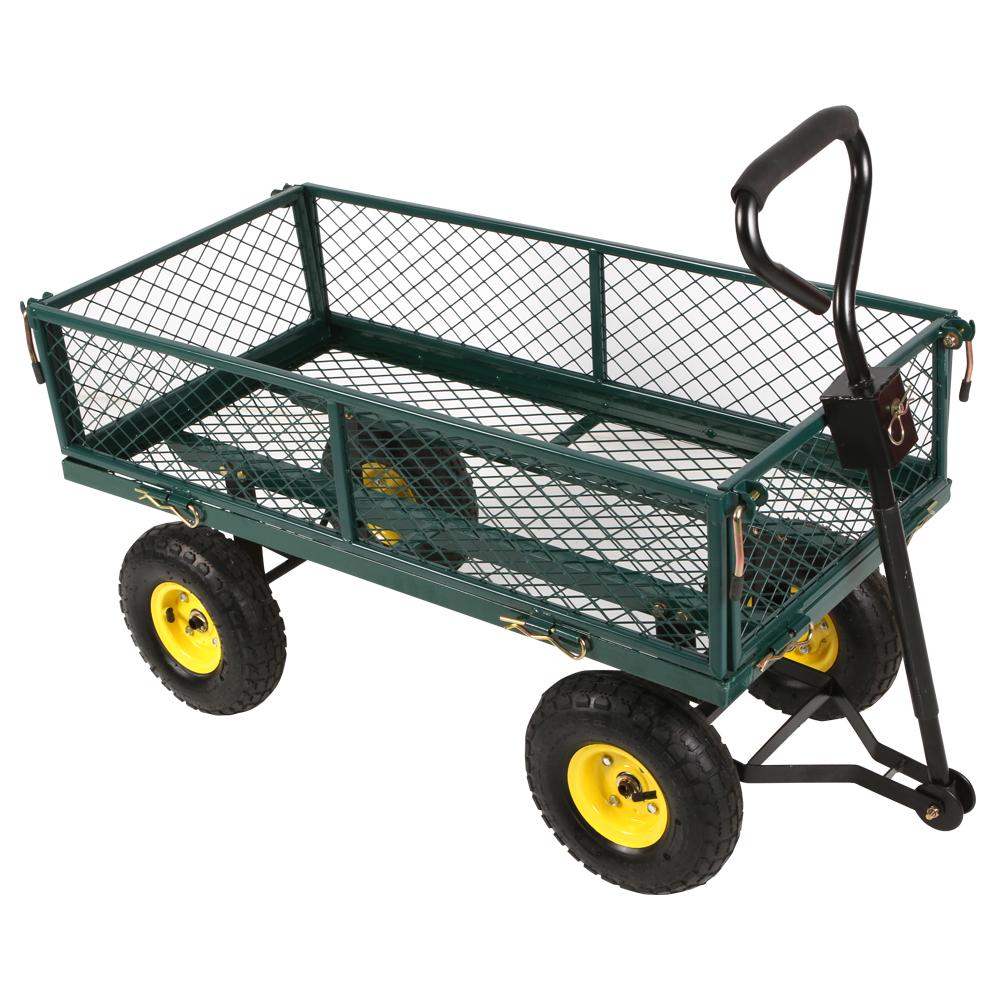 New Garden Cart Trolley Mesh Steel Side Load Tow Trailer