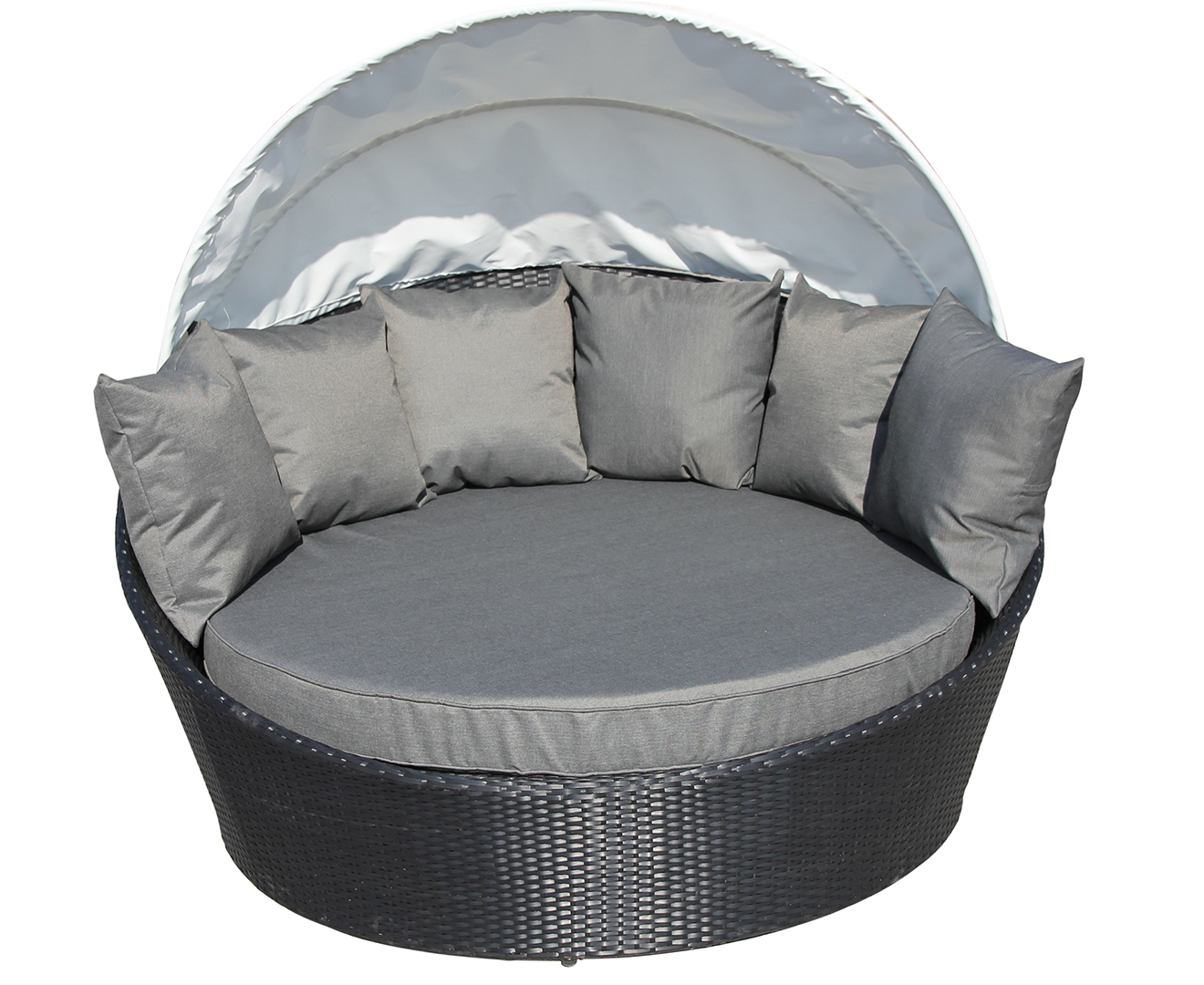 wicker rattan sofa round couch lounge w canopy cover black outdoor furniture ebay. Black Bedroom Furniture Sets. Home Design Ideas