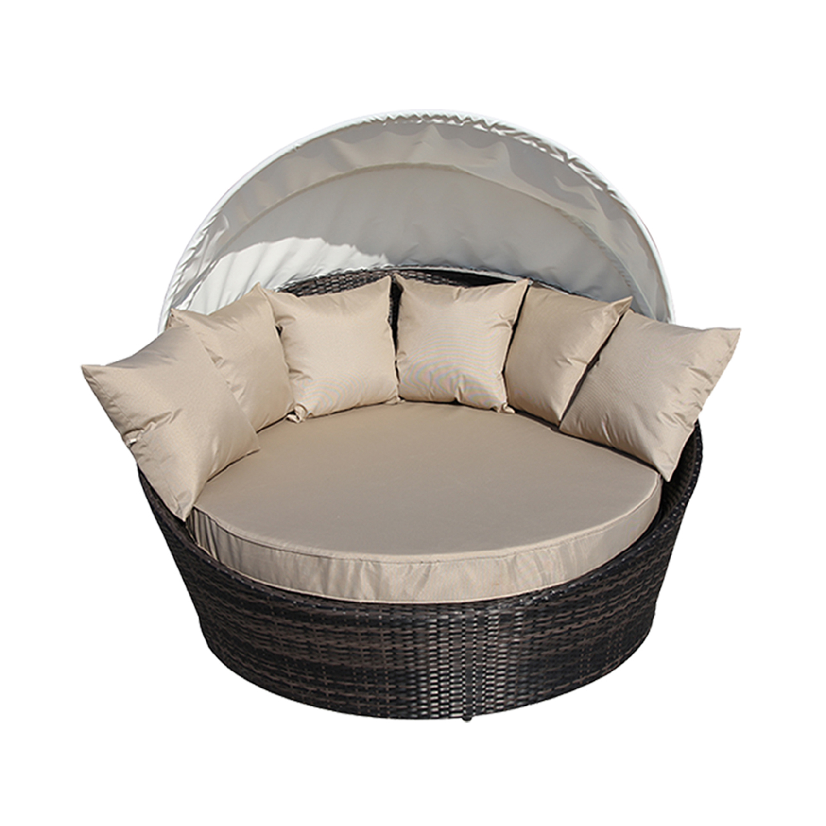 wicker rattan sofa lounge round couch w canopy cover brown outdoor