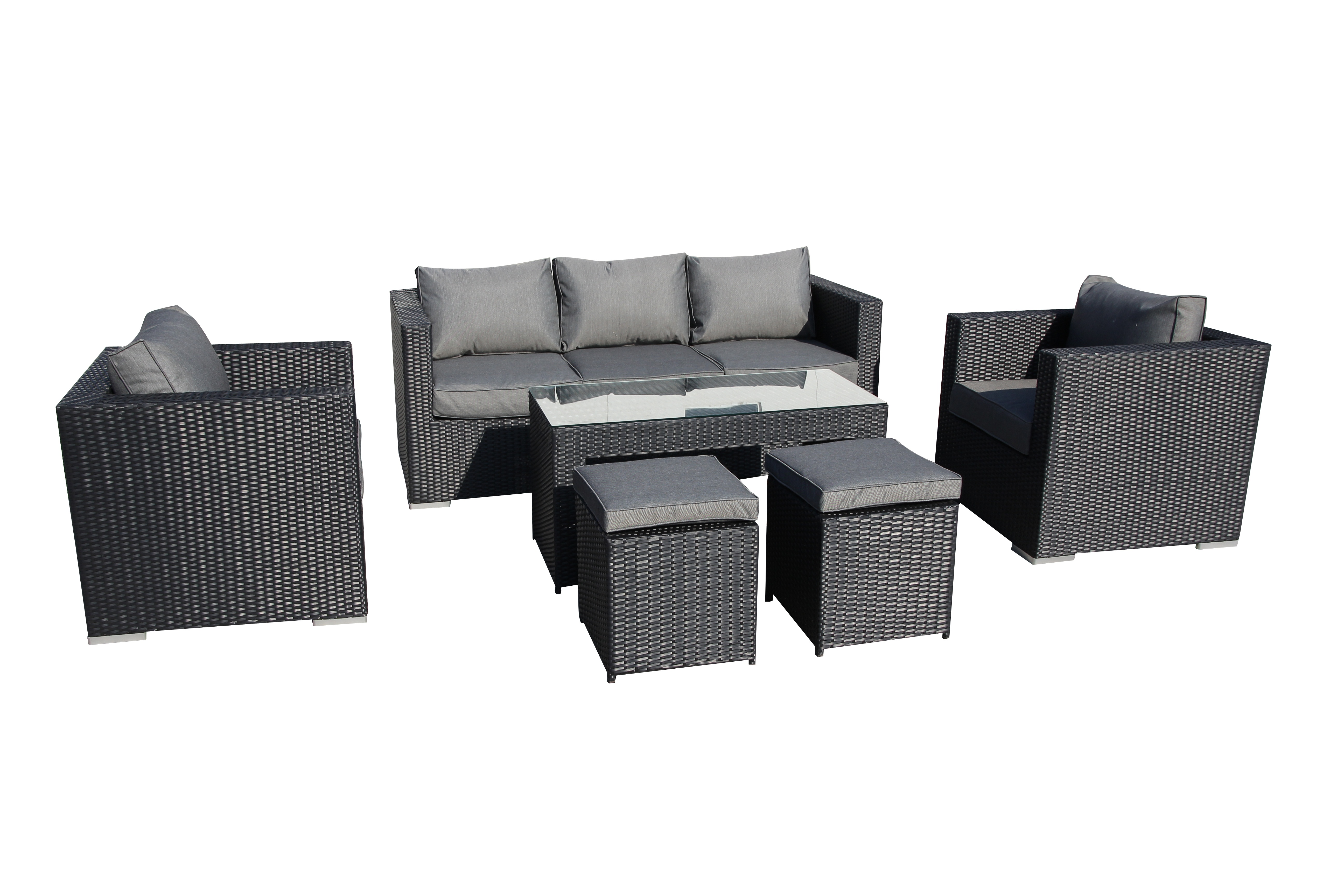 padang wicker rattan sofa lounge indoor outdoor patio couch 2 colours 6pc set ebay. Black Bedroom Furniture Sets. Home Design Ideas