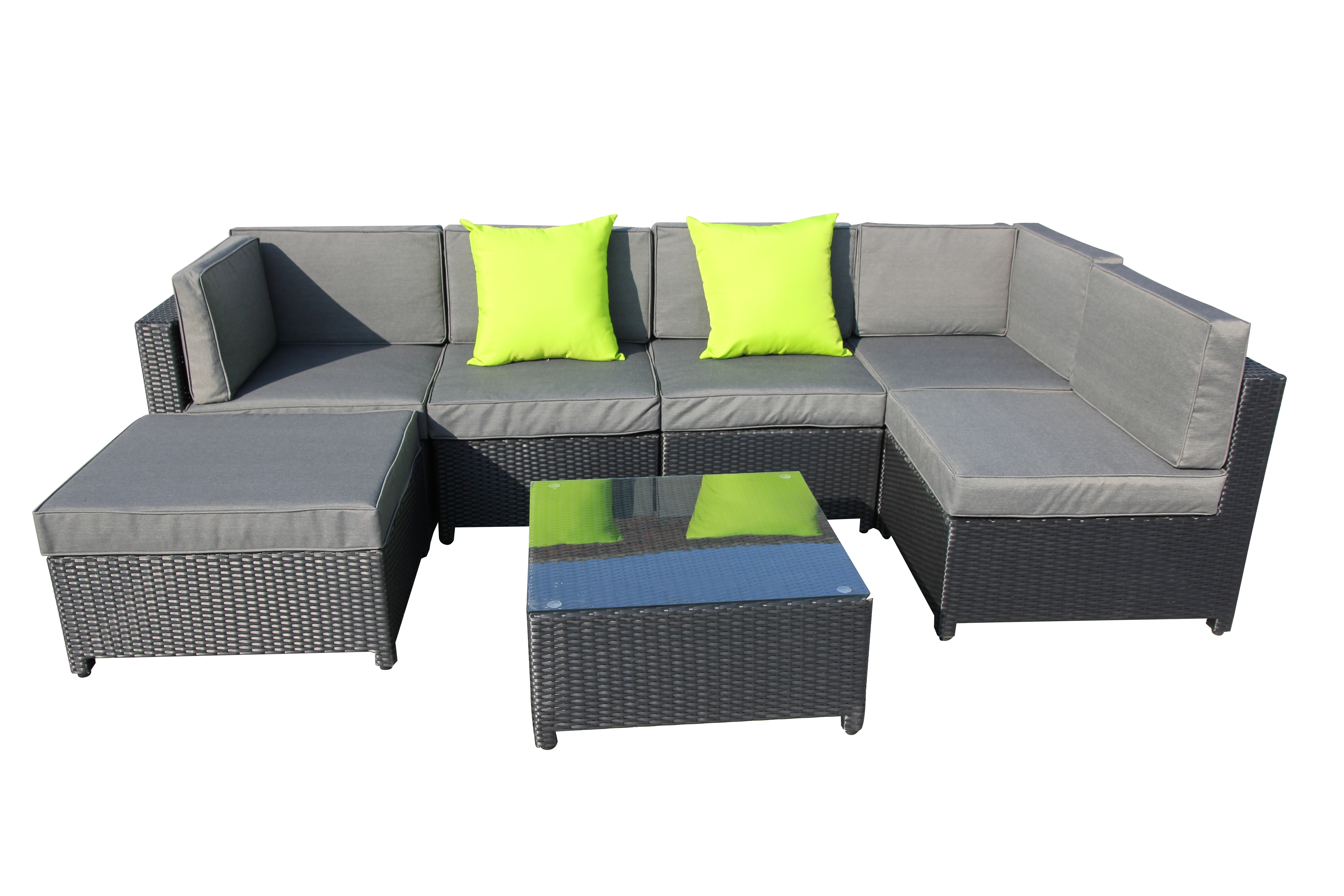 kuta wicker rattan sofa lounge indoor outdoor patio furniture 2 colours 7pc set ebay. Black Bedroom Furniture Sets. Home Design Ideas