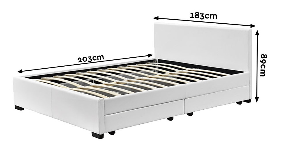 Abbey King Queen Size Bed Frame With 4 Storage Drawers In 6