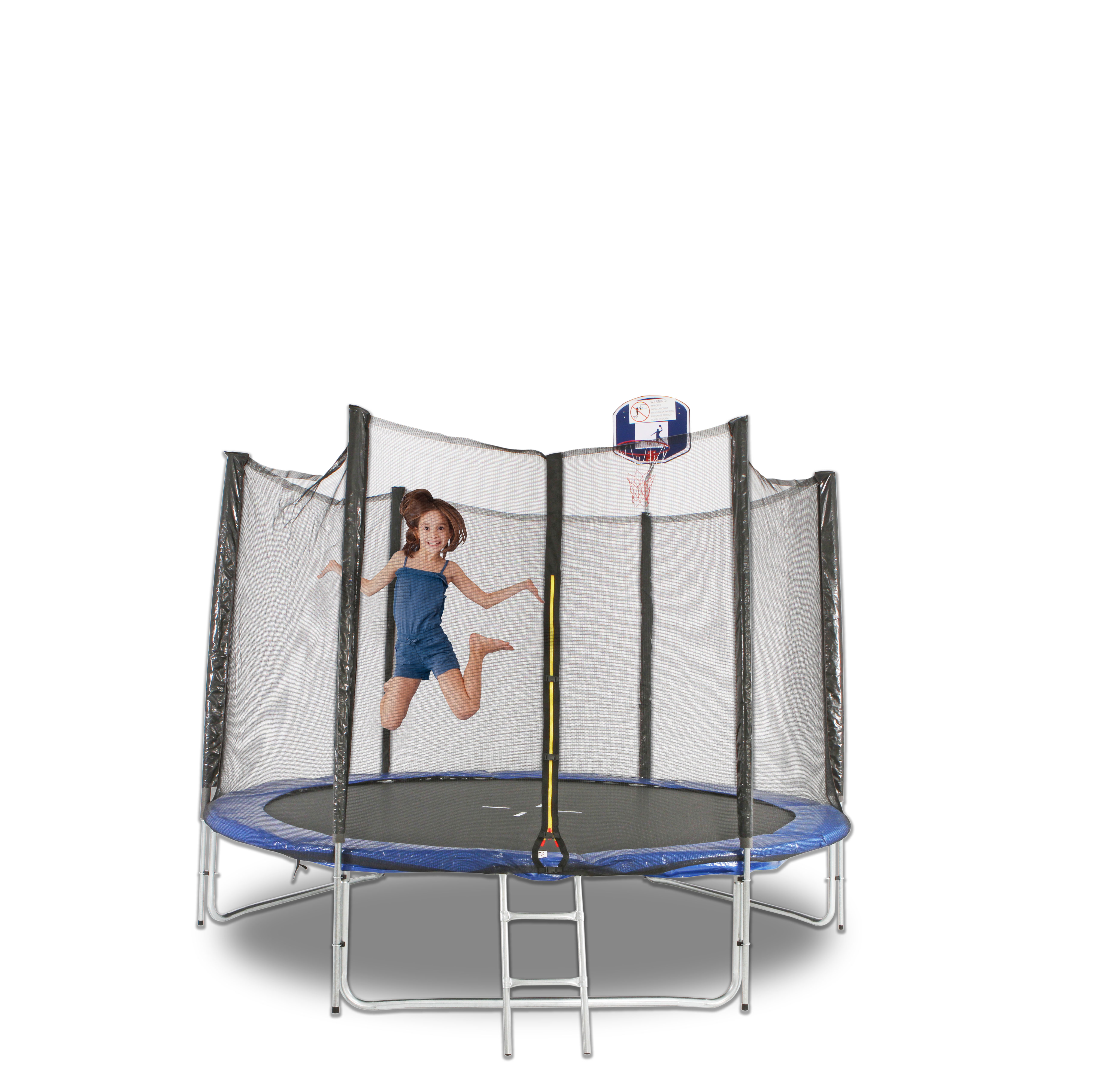 10FT ROUND TRAMPOLINE FREE Basketball Set Safety Net