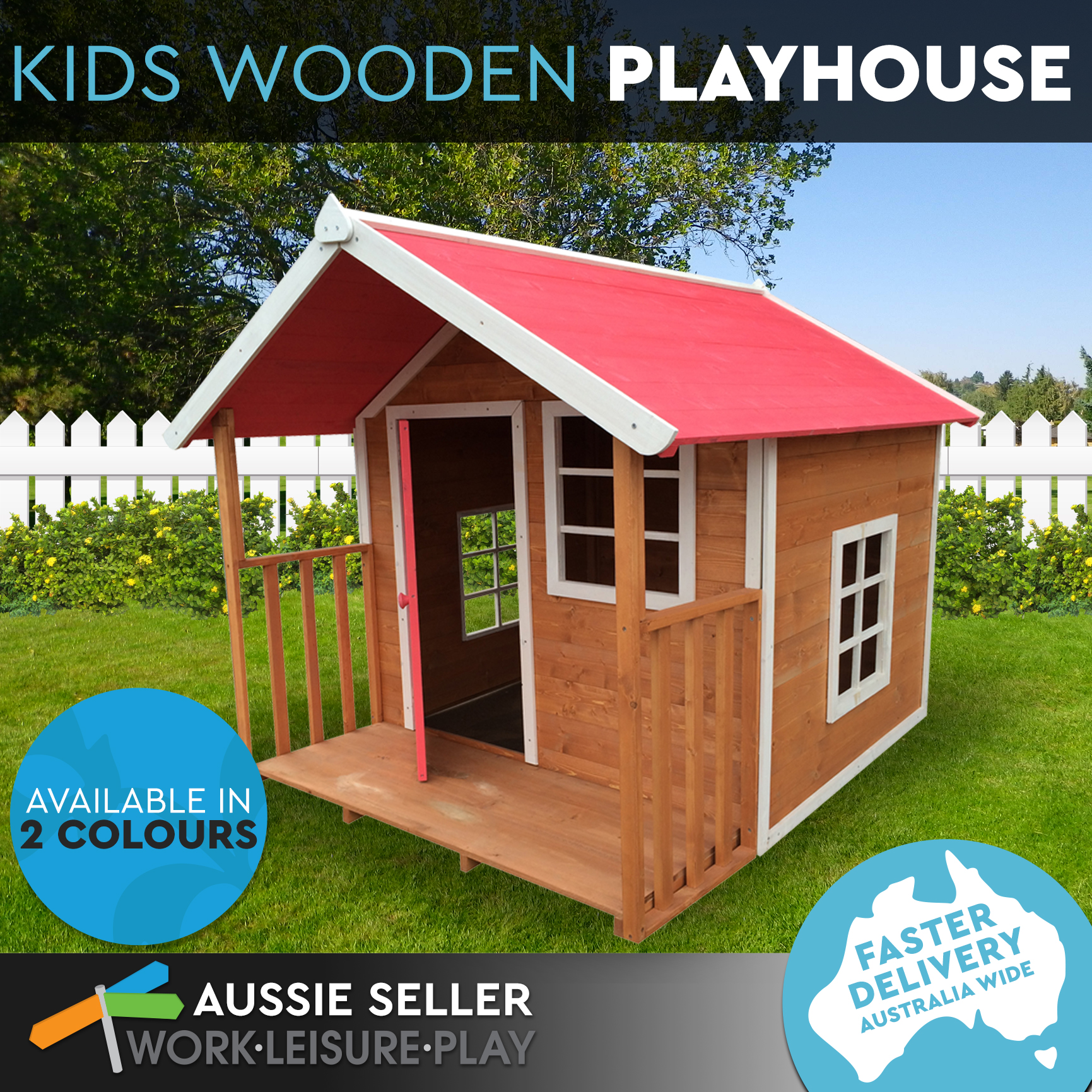 Kids outdoor wooden timber playhouse cubby house pretend for How to make a playhouse out of wood