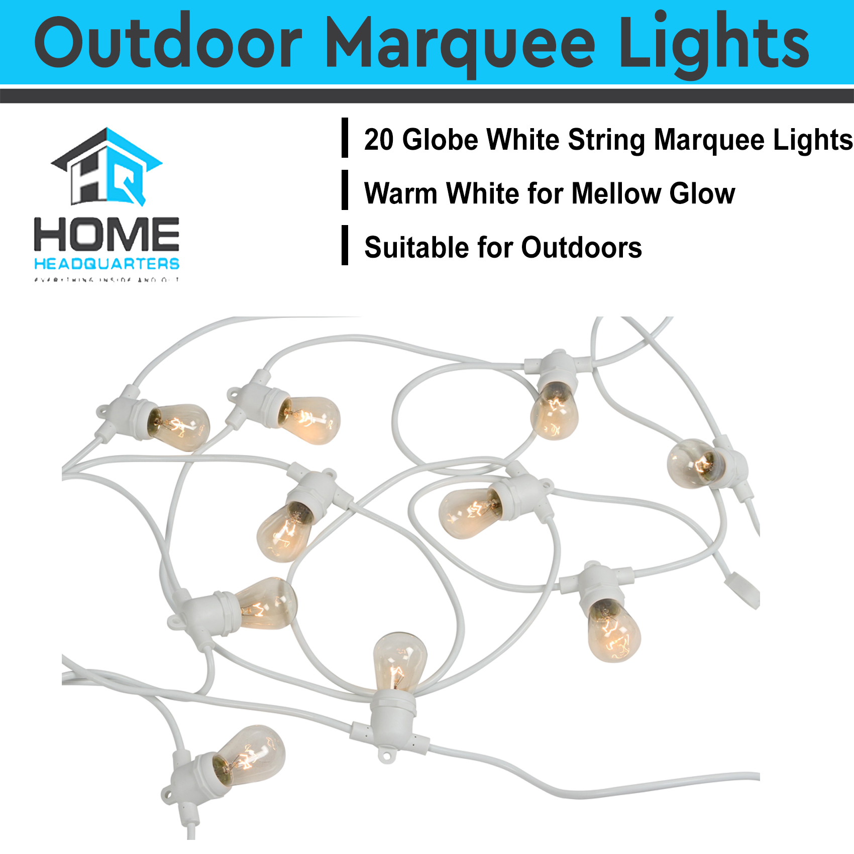 String Lights For Marquee : 20m String Lights Festoon Wedding Party Fairy Outdoor Marquee Vintage Retro Whit eBay