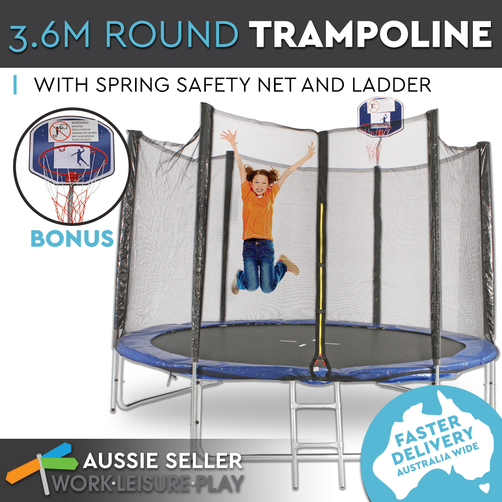3.6m 12ft Trampoline Round Free Basketball Safety Net