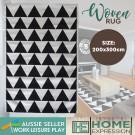 Woven Bold Triangle Rug | Black | 200 x 300cm