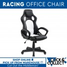 Premium PU Leather Racing Office Chair | Black & White